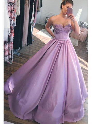 Sweetheart Lilac Satin Beaded Ball Gown, Prom Dresses