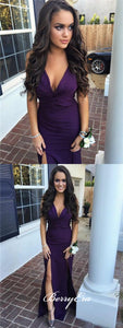 V-neck Slits Mermaid Purple Long Bridesmaid Dresses