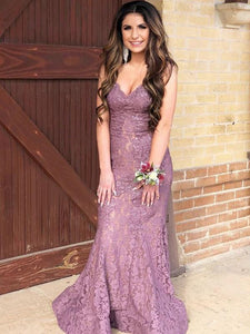 V-neck Lace Mermaid Long Prom Dresses