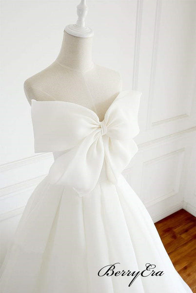 Sweetheart A-line Chiffon Wedding Dresses, Modest Wedding Dresses With Bow