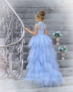 High Neck Light Blue Tulle Beaded Flower Girl Dresses, Detachable Skirt Flower Girl Dresses