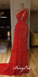 One Shoulder Long Sheath Red Sequin Prom Drsses, Sexy Long Prom Dresses, Long Prom Dreses