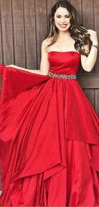 Strapless A-line Red  Satin Beads Long Prom Dresses