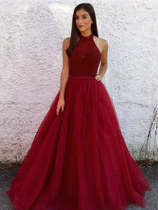 Red Halter Long A-line Beaded Tulle Prom Dresses