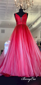 Straps V-neck Red Tulle Prom Dresses, Beaded Long Prom Dresses, Gradient Prom Dresses