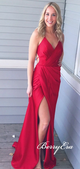 V-neck Long Mermaid Side Slit Red Prom Dresses, Long Prom Dresses, Simple Prom Dresses