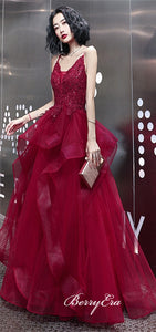 Spaghetti Long A-line Red Lace Beaded Prom Dresses, Lovely Long Prom Dresses, Prom Dresses