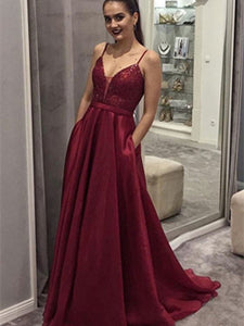 Spaghetti Dark Red Sequin Top A-line Organza Prom Dresses, Long Prom Dresses