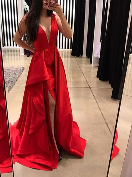 Long Chic Red Deep V Neck Prom Dresses Formal Party Dresses with Split Side