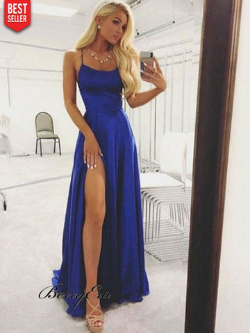 Spaghetti Side Slit Royal Blue Long Prom Dresses Prom Dresses