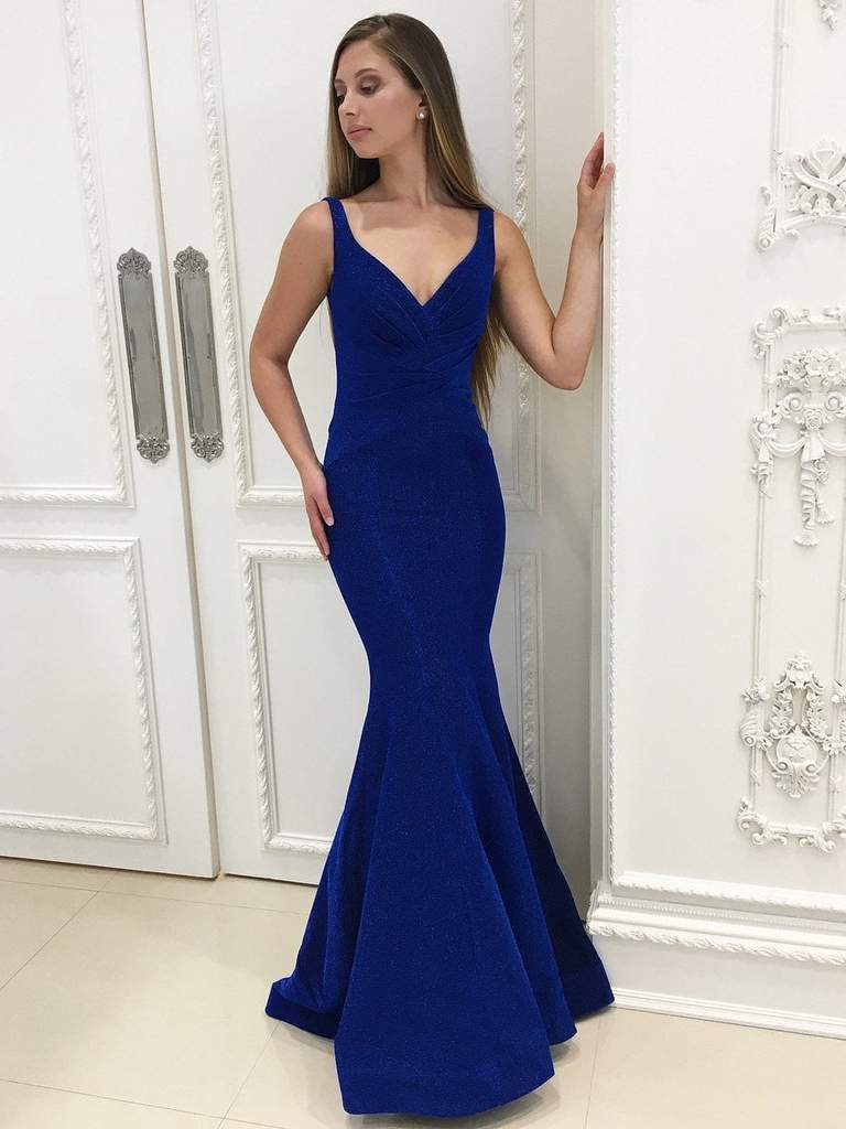 Royal Blue Mermaid Shiny Long Prom Dresses