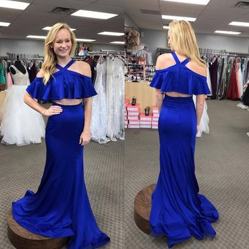 2 Pieces Royal Blue Halter Prom Dresses