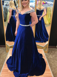 Off Shoulder Royal Blue Beaded Velvet Prom Evening Dresses