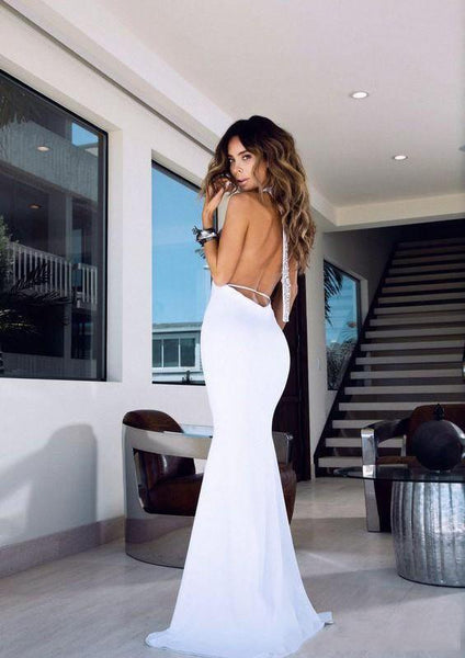 Halter Long Mermaid White Prom Dresses