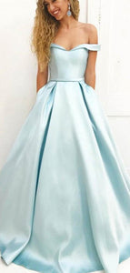 Off Shoulder Long A-line Pale Blue Satin Prom Dresses