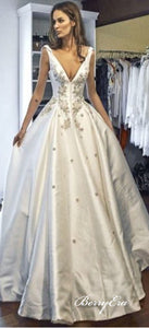 V-neck Long Train Lace Beaded Elegant Satin Wedding Dresses