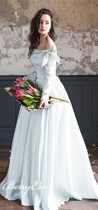 Off Shoulder Long A-line Satin Wedding Dresses, Country Wedding Dresses, Long Sleeves Wedding Dresses