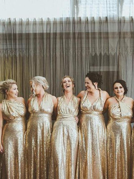 Convertible Gold Sequin Long Bridesmaid Dresses