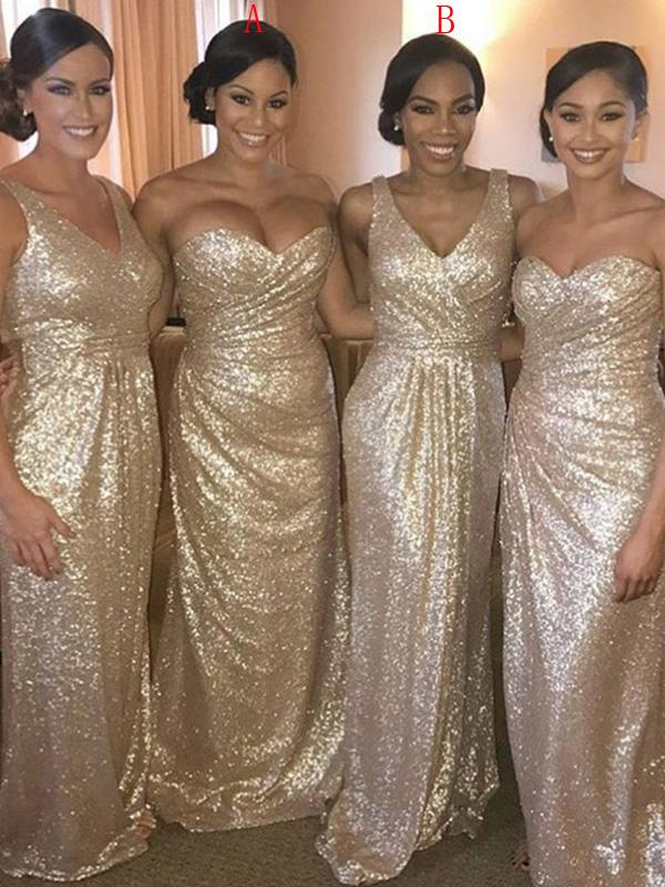 Mismatched Long Sheath Sequin Bridesmaid Dresses