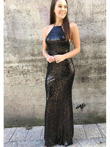 Simple Long Sheath Black Sequin Lace Up Prom Dresses