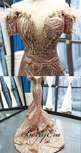 Off Shoulder Long Mermaid Sequin Prom Dresses, Luxury Prom Dresses, Prom Dresses