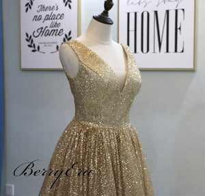 V-neck Long A-line Sequin Prom Dresses, Sparkle Prom Dresses