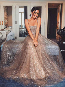 Shiny Sequin Tulle Long A-line Straps Prom Dresses