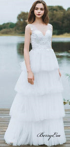V-neckline Lace Bride Wedding Dress, Elegant Fluffy Tulle Wedding Dresses, Bridal Gowns