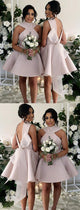 Short Loveky Satin Bridesmaid Dresses With Bow