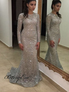 Silver Long Sleeves Mermaid Sequin Tulle Prom Dresses, Long Prom Dresses