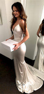 Silver Long Mermaid Simple Prom Dresses, Affordable Prom Dresses