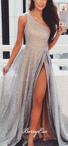 One Shoulder Silver Sequin Tulle Prom Dresses, Side Slit Prom Dresses, Prom Dresses