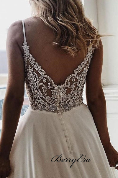 Fashion Spaghetti Long A-line V-neck Chiffon Lace Wedding Dresses, Popular Bridal Gown