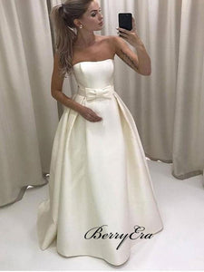 Strapless Satin Simple Bride Dress with Bow Sash, A-line Bridal Wedding Dresses