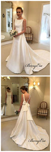 Newest Structured Satin Wedding Dresses with Bow Ribbon Sash Back, Bridal Gowns