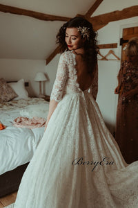 Half Sleeves Lace A-line Wedding Dresses, A-line Wedding Dresses, Bridal Gown
