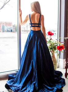 Taffeta Dark Blue A-Line Long Prom Dresses, Sexy Party Dresses
