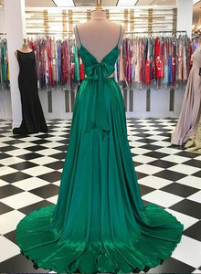 2 Pieces Green Satin Prom Dresses, Simple Lovely Dresses With Bow