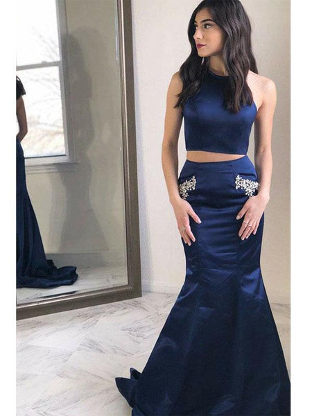 2 Pieces Navy Beaded Long Mermaid Prom Dresses