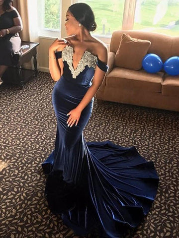 Off Shoulder Navy Velvet Appliques Beaded Prom Dresses
