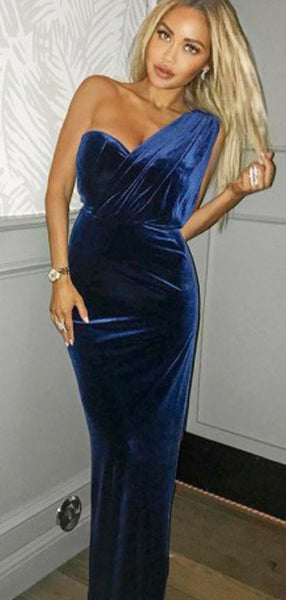 One Shoulder Navy Velvet Long Prom Dresses, Sexy Evening Party Dress