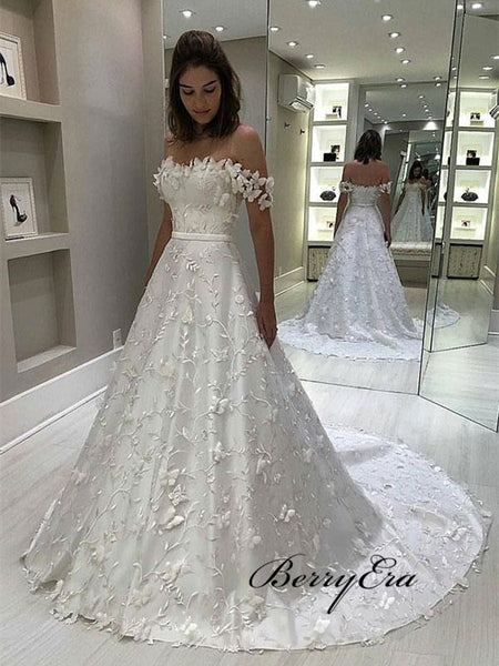 A-line Elegant Lace Applique Wedding Dresses, Popular Off Shoulder Wedding Dresses 2019