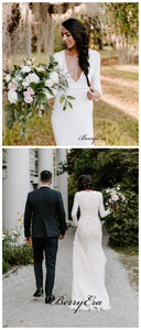 Deep V-neck Simple Wedding Dresses, Popular Long Sleeves Wedding Dresses
