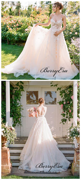 Spaghetti Straps Appliques Wedding Dresses, A-line Tulle Wedding Dresses