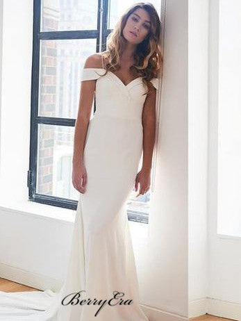 Spaghetti Long Mermaid Ivory Fitted Long Wedding Dresses
