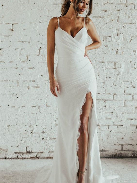 Spaghetti Long Mermaid Jersey Lace Wedding Dresses, Simple Design Bridal Gown