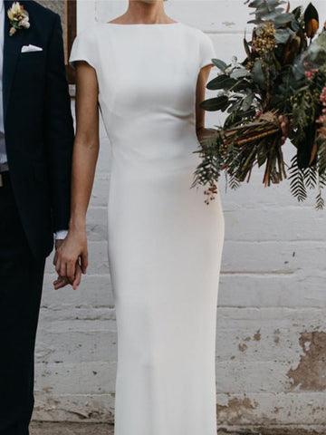 Cap Sleeve Long Sheath Off White Simple Country Wedding Dresses
