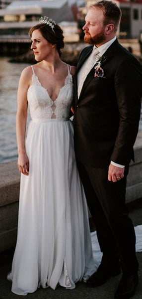 Simple V-neck Lace Chiffon Wedding Dresses, Bridal Gown