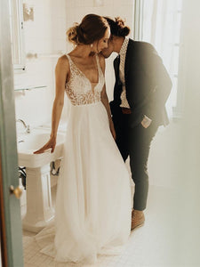 V-neck Pearls Long A-line Tulle Wedding Dresses