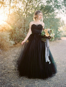 Sweetheart Long A-line Black Tulle Wedding Dresses, Country Wedding Dresses